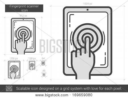 Fingerprint scanner vector line icon isolated on white background. Fingerprint scanner line icon for infographic, website or app. Scalable icon designed on a grid system.