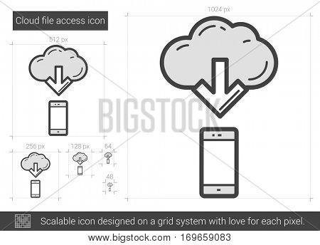 Cloud file access vector line icon isolated on white background. Cloud file access line icon for infographic, website or app. Scalable icon designed on a grid system.