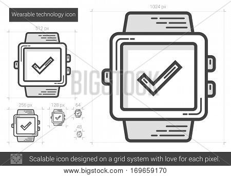 Wearable technology vector line icon isolated on white background. Wearable technology line icon for infographic, website or app. Scalable icon designed on a grid system.