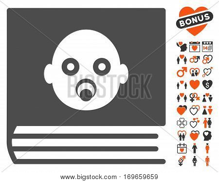 Baby Album pictograph with bonus passion images. Vector illustration style is flat iconic symbols for web design app user interfaces.