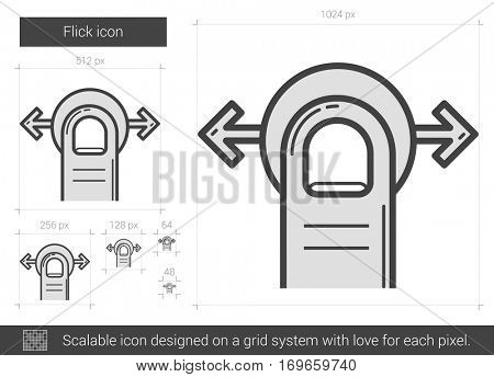 Flick vector line icon isolated on white background. Flick line icon for infographic, website or app. Scalable icon designed on a grid system.