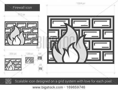 Firewall vector line icon isolated on white background. Firewall line icon for infographic, website or app. Scalable icon designed on a grid system.