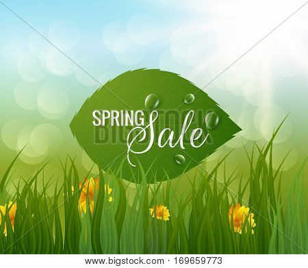 Spring background with green leaves and morning dew. Vector eps10.