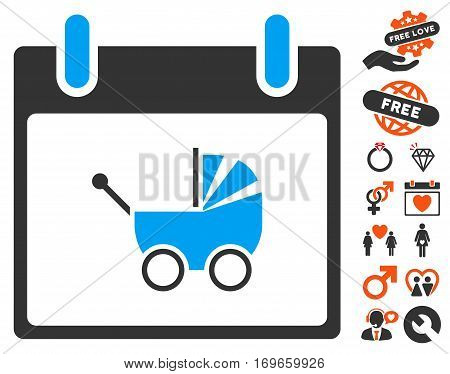 Baby Carriage Calendar Day pictograph with bonus decorative clip art. Vector illustration style is flat iconic symbols for web design app user interfaces.