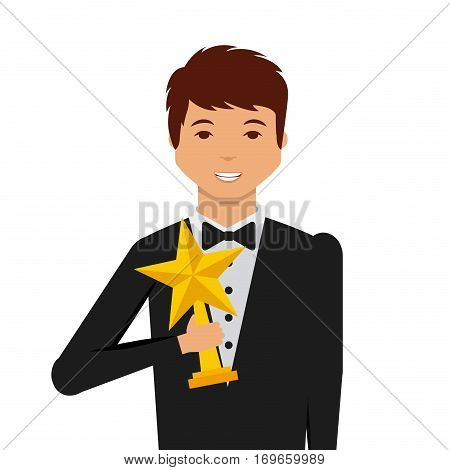 actor holding a star trophy cartoon icon over white background. actors awards concept. colorful design. vector illustration