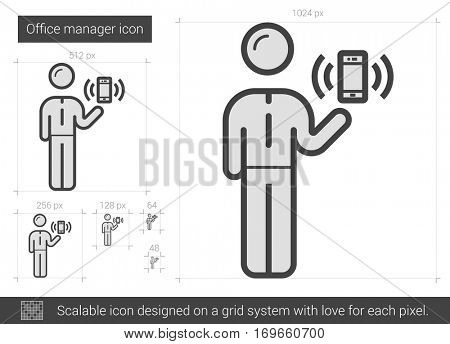 Office manager vector line icon isolated on white background. Office manager line icon for infographic, website or app. Scalable icon designed on a grid system.