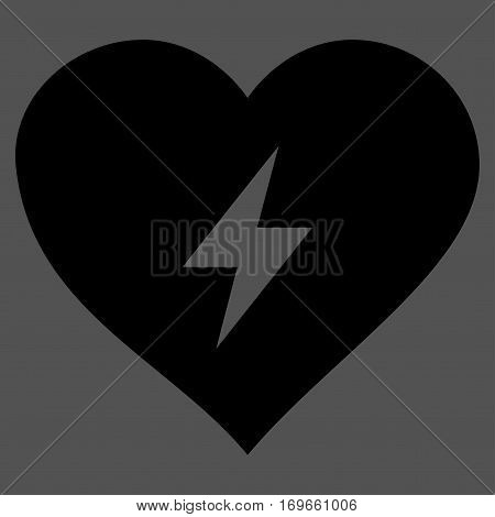 Heart Power flat icon. Vector black symbol. Pictograph is isolated on a gray background. Trendy flat style illustration for web site design logo ads apps user interface.