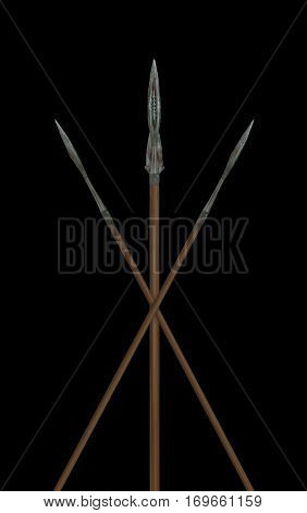 3D Illustration with Roman spears on the black background, both for print and web