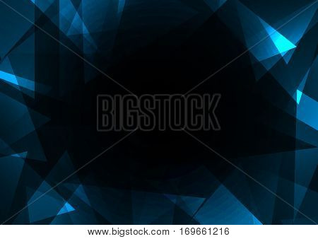 dark crystal abstract background, diamond business template, facet technology background, vector illustration, fractal frame abstract dark background