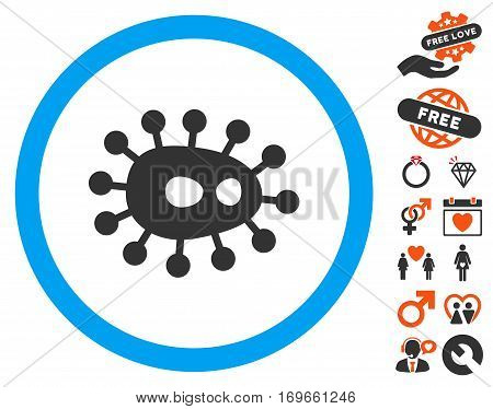 Bacilla pictograph with bonus decoration clip art. Vector illustration style is flat iconic elements for web design app user interfaces.