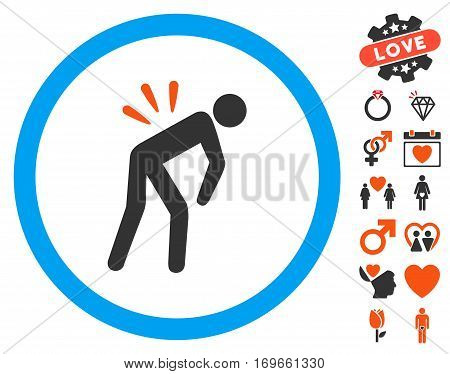 Backache pictograph with bonus passion images. Vector illustration style is flat iconic symbols for web design app user interfaces.