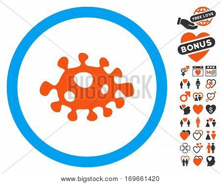 Bacteria pictograph with bonus decoration symbols. Vector illustration style is flat iconic symbols for web design app user interfaces.