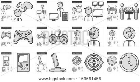 Hi-Tech vector line icon set isolated on white background. Hi-Tech line icon set for infographic, website or app. Scalable icon designed on a grid system.