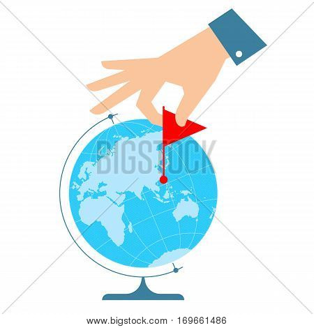 People travel concept. Flat vector illustration of eastern globe hemisphere and human hand with flag marker. Man is pointing a place on the map. Infographic element for web print social networks.