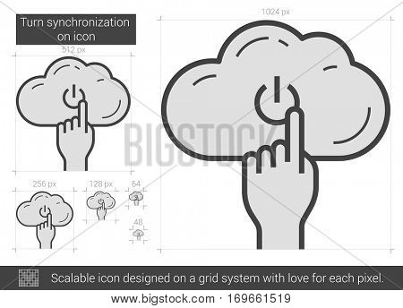 Turn synchronization on vector line icon isolated on white background. Scalable icon designed on a grid system.