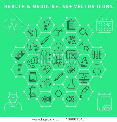 Family health care and medical icon set. pharmacy medicine medical equipment and services vector line icons. Infographic elements for web design publish print and social network.