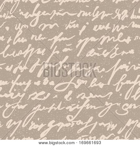 Vintage seamless vector pattern with abstract hand written words.
