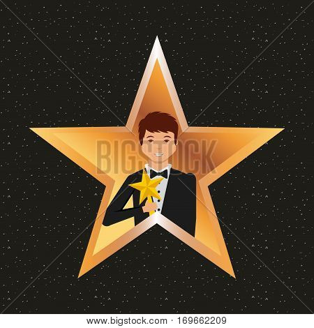 golden star with actor with trophy over black background. colorful design. actors awards design. vector illustration