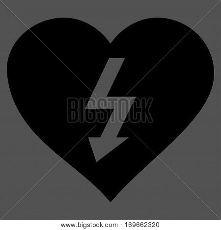 Power Love Heart flat icon. Vector black symbol. Pictograph is isolated on a gray background. Trendy flat style illustration for web site design logo ads apps user interface.