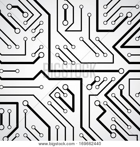 Circuit board futuristic cybernetic texture information communication technology vector background. Computer motherboard web design.
