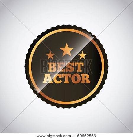 seal stamp of actors awards concept over white background. colorful design. vector illustration