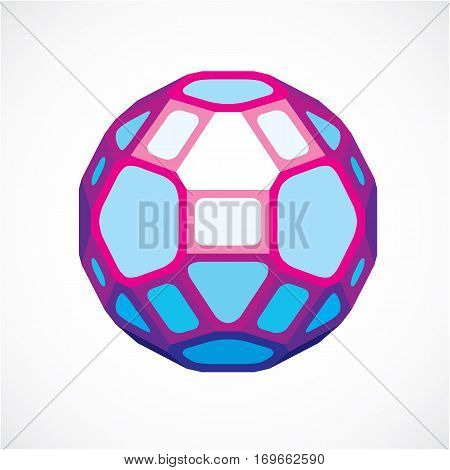 3D Ball Made With Black Lines, Futuristic Origami Abstract Modeling. Purple Vector Low Poly Design E