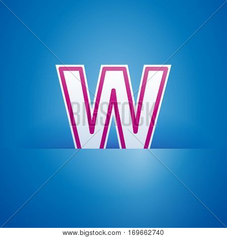 Vector sign pocket with letter W in blue
