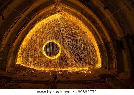 Freezelight using spinning burning steel wool and pyrotechnics in abandoned soviet military bunker