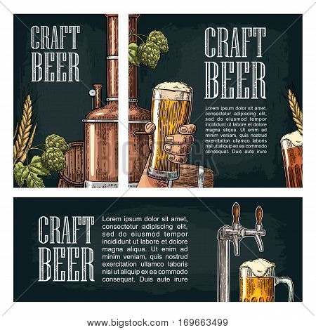 Set horizontal, vertical and square and posters for craft beer. Hands holding beer glass, wooden barrel, tap and tanks from brewery factory. Vintage vector engraving illustration on dark background.
