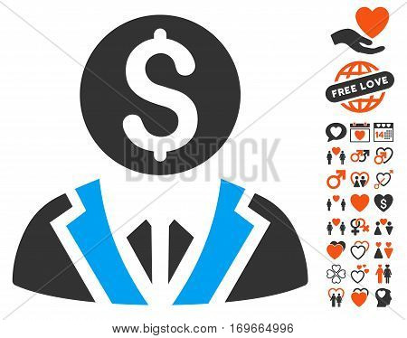 Banker pictograph with bonus passion images. Vector illustration style is flat iconic elements for web design app user interfaces.