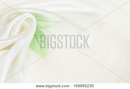 White silk background with flower drapery and green leaves