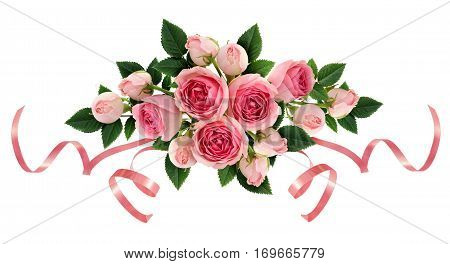 Pink rose flowers and ribbons arangement isolated on white. Flat lay top view.