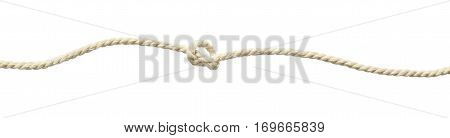 Beige cotton rope knot isolated on white