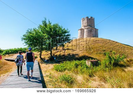Nin, Croatia - July 30, 2015: Tourist Visit Very Old Catholic Church Of St. Nicolas In Nin In Croati