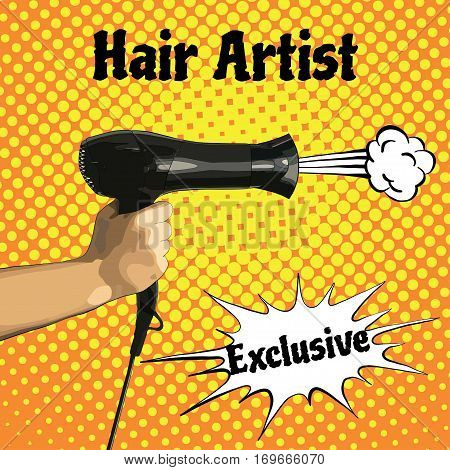 Vector illustration of a hair dryer in hand for a fashion magazine