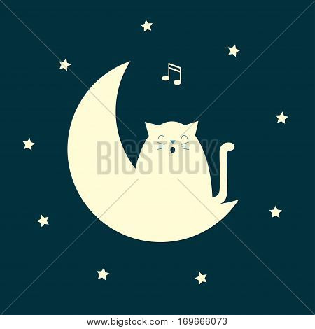 Vector stylized illustration of a white cat sitting on the moon and singing. Square format. Dark background.