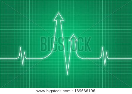 Vector concept illustration of science research process. Light glossy heart pulse line with arrows on dark green monitor background. Infographic design element for web print presentation booklet.