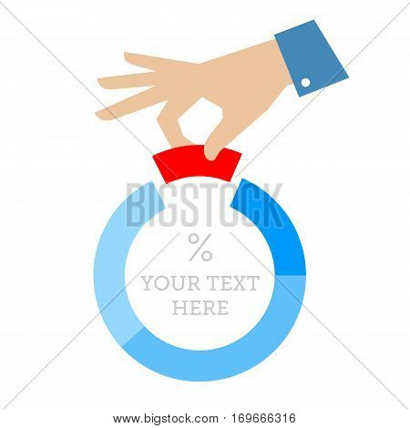 Share business concept flat illustration. Businessmans hand places part of pie chart. Vector infographic element template for web report print internet presentation booklet social networks.