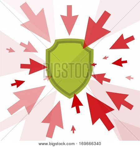 Attack and protection digital technology concept. Vector flat illustration of cursors and shield. Computer pointers attack guard protects data. Design element for brochure banners social networks.