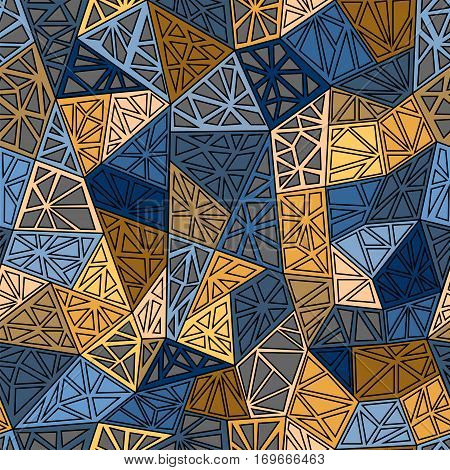 Triangles texture. Blue yellow brawn seamless pattern.