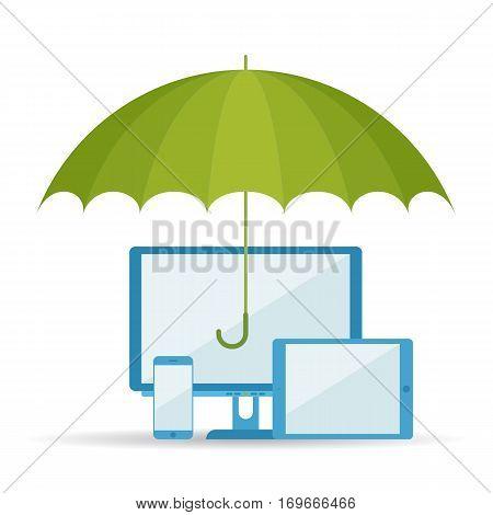 Protect data digital technology concept. Vector flat illustration of umbrella computer tablet and telephone. Design element for web webdesign print presentation brochure social networks.