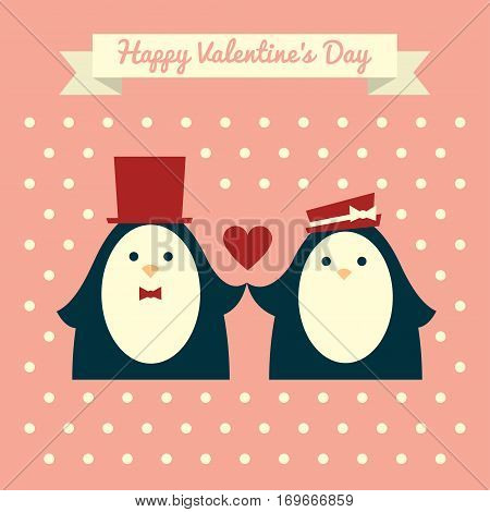 Vector retro styled illustration of a couple of penguins in red elegant hats holding hands. Pink background with polka dot pattern. Square format. Text