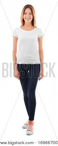 Young woman in blank t-shirt on white background