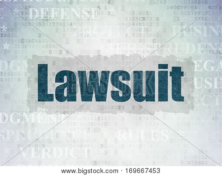 Law concept: Painted blue text Lawsuit on Digital Data Paper background with   Tag Cloud