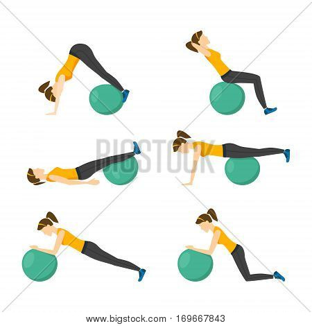 Woman Making Right Exercise with Fitness Ball Workout Position or Posture. Flat Design Style Vector illustration