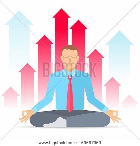 Manager meditates at work in the lotus pose on the increasing graphs background. Flat vector concept illustration of meditation. Business infographic element for web presentation social networks.