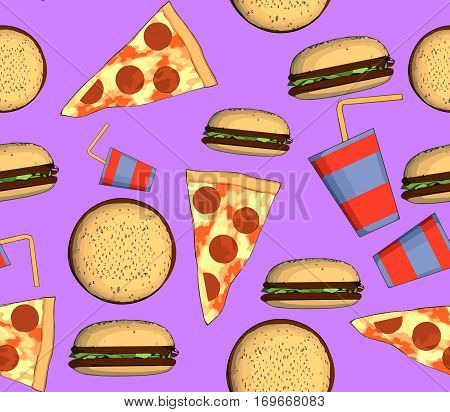 junk food seamless pattern with pizza hamburger and a drink on a pink background