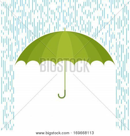 Protect and safety concept. Vector flat illustration of umbrella and rain drops. Infographic and design element for web webdesign publish presentation brochure poster social networks.