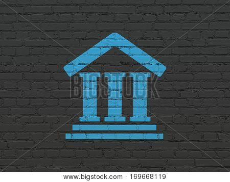 Law concept: Painted blue Courthouse icon on Black Brick wall background