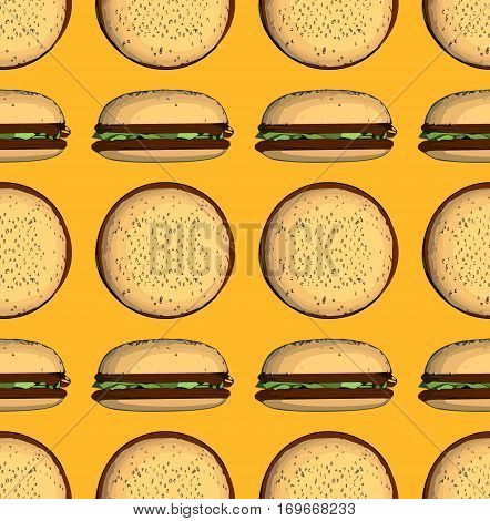 junk food seamless pattern with hamburger on a orange background
